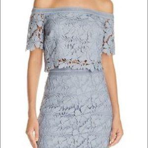 Bardot powder blue lace skirt and top